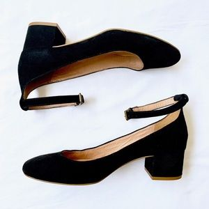 MADEWELL • BLACK SUEDE INEZ MARY JANE STRAP SHOES